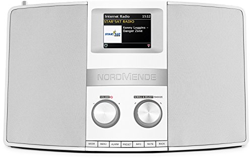 Nordmende Transita 400 - Internetradio (DAB+, UKW, Stereo-Radio, W-LAN, Spotify Connect, Bluetooth-Audiostreaming, NFC, Farbdisplay, Wecker, Kopfhöreranschluss, 2 x 10 Watt, 2 AUX-In) schwarz/silber