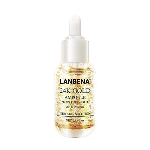 Lanbena, esencia de oro de 24 quilates para repara la piel, esencia de colágeno, ácido hialurónico, hidratante facial, antienvejecimiento, reafirmante, aclarado de líneas finas