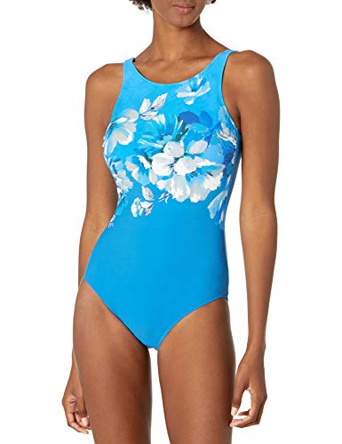 Gottex Women's Mastectomy High Neck One Piece Swimsuit, Water Spring Multi Blue, 40
