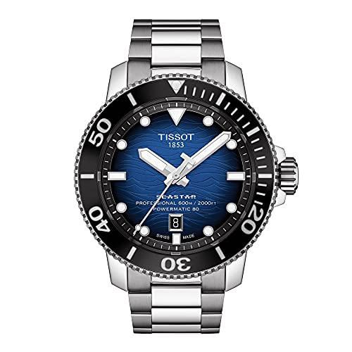 Tissot Men's Seastar 2000 Professional Swiss Automatic Diving Watch with Stainless Steel Strap, Grey, 22 (Model: T1206071104101)