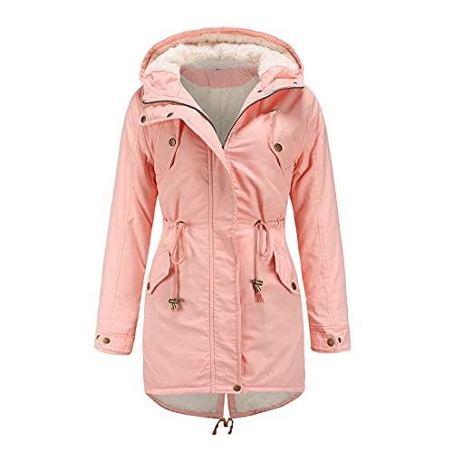 Abrigo con capucha para mujer con cordón, abrigo de invierno con forro de piel, abrigo grueso con capucha, con bolsillo con cremallera, con cordón, parka de felpa, chaqueta con capucha, Rosa., L