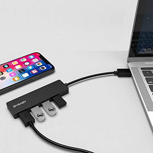 BYEASY USB Hub, 4 Port USB 3.0 Hub Ultra Slim Extra Leicht Portable Data Hub, Datenhub für iMac Pro, MacBook Air, Mac Mini/Pro, Surface Pro, Notebook PC, Laptop, USB Flash Drives, and Mobile HDD