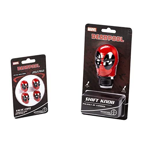 Pilot Automotive AMA-MVL-05 Universal Marvel Deadpool Car Shift Knob and Valve Cap Accessories Combo Kit   Collectible Official Merchandise