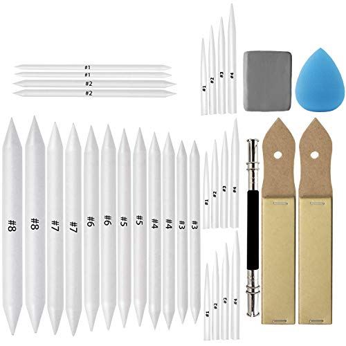 33 Pcs Blending Stumps and Tortillions Set Art Blenders with Sketch Sandpaper Pencil Sharpener Pencil Extension Tool Drawing Kneaded Eraser Sponge Sketch for Student Sketch Drawing Tool Set