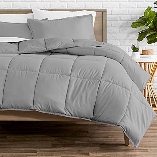 Bare Home Comforter Set - Oversized Queen - Goose Down Alternative - Ultra-Soft - Premium 1800 Series - All Season Warmth (Oversized Queen, Light Grey)