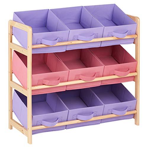 Hartleys Aufbewahrungsmöbel mit 3 Etagen und 9 Aufbewahrungsboxen aus Gewebe - Rosa und Lila