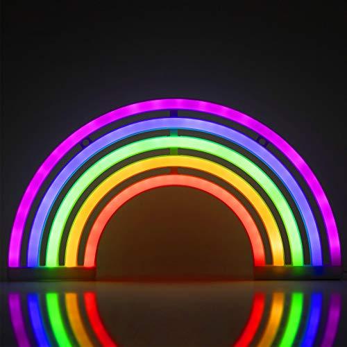 ZWOOS Neonlicht für Schlafzimmer - LED Leuchtschilder angetrieben von Batterie oder USB - Neonschild für Wand - Leuchtreklame für Party, Bar (Regenbogen)