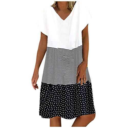 lecduo - Vestido para mujer, estilo informal, de manga corta, cuello en V, estampado de rayas y lunares Negro M