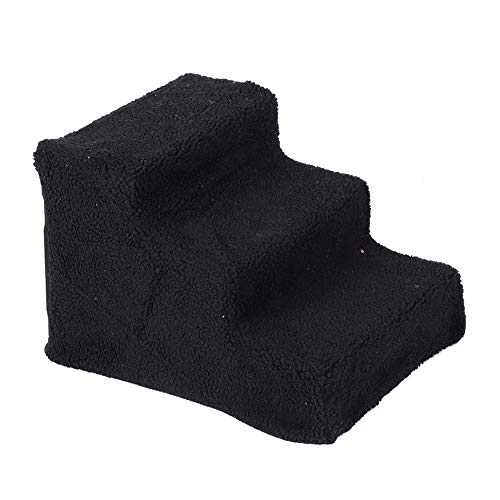 Escalera para mascotas con 3 pasos para rampa de mascotas con cubierta de tela de felpa extraíble para perro gato cama alta otros espacios difíciles de alcanzar, color negro