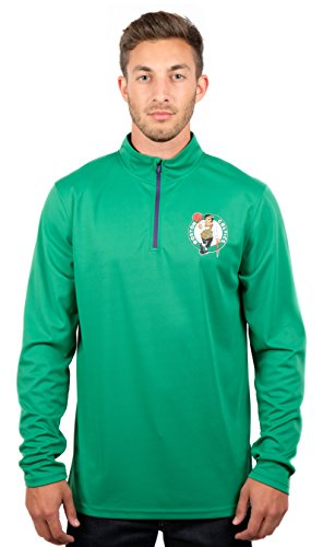 Ultra Game NBA Boston Celtics Mens Quarter-Zip Pullover Active Shirt, Team Color, Large