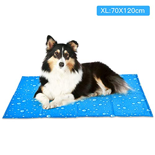 XIAPIA Kühlmatte für Hunde Kühldecke Ungiftig Gel Matte, Druck Aktiviert Selbstkühlende Decke für Welpe Katzen Innen&Draußen im Heißen Sommmer Blau (XXL(70x120 cm), Regentropfen)