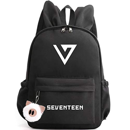 Kpop Seventeen Cute Rabbit Ears Backpack School Bag Daypack Gift Merchandise Laptop Bag College Bookbag Travel Canvas Bag Joshua JUN Hoshi Wonwoo Woozi DK MINGYU THE8 SEUNGKWAN Vernon Dino