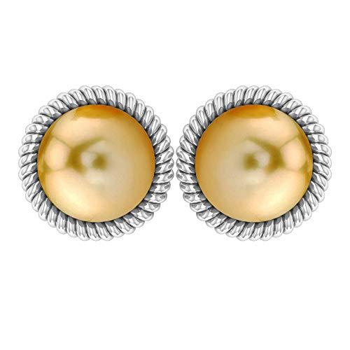 Pendientes de boda, 9 ct, 8 mm, solitario, perla del mar del sur, anillo antiguo en espiral, pendiente de dama de honor, anillo de declaración única, pendiente de aniversario, tornillo hacia a