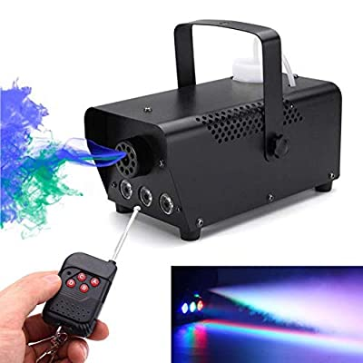 Fog Machine, Miric Smoke Machine Portable with LED Lights Equipped with Wired and Wireless Remote Control for Party, Christmas, Halloween and Weddings