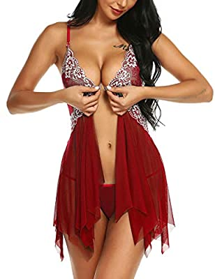 klier Women V Neck Floral Lace Lingerie Set Open Front Sexy Sheer Babydoll Mesh Chemise with G-String (XL, Wine Red) from