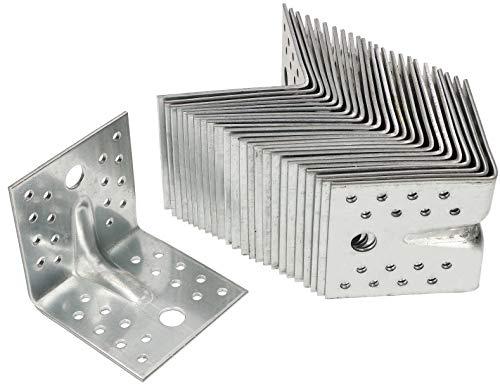 KOTARBAU® Winkelverbinder 25 Stk. 80x80x80mm Bauwinkel mit Sicke Silber