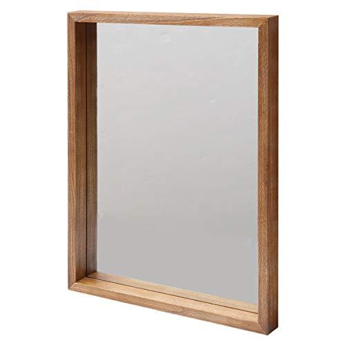 鏡 ミラー アンティーク ボックスミラー ANTE アンテ 天然木 北欧 シンプル おしゃれ ブラウン ホワイト 幅45 長方形 (ブラウン)