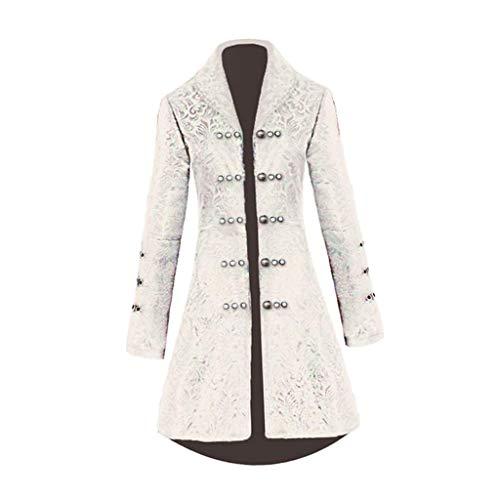 P Prettyia Damen Jacke Steampunk Gothic Uniform Mantel Retro Viktorianischen Langer Uniformkleid Langarm, Cosplay Kostüm - Weiß M, M
