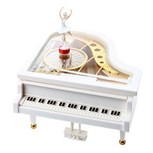 TOOGOO(R) Caja de musica caja de musica caja de musica de piano de cola blanco Bailarina Nuevo