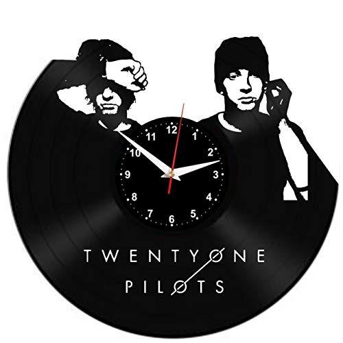 EVEVO Twenty ONE Pilots Wanduhr Vinyl Schallplatte Retro-Uhr Handgefertigt Vintage-Geschenk Style Raum Home Dekorationen Tolles Geschenk Wanduhr Twenty ONE Pilots