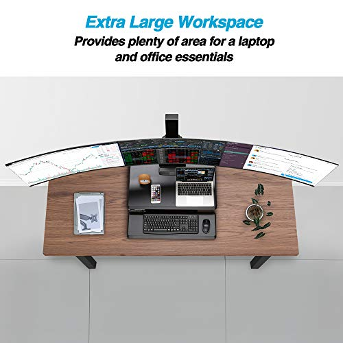 """AVLT Triple 32"""" Monitor Electric Standing Desk Extra Large 28""""x 16"""" Spacious Tabletop Motorized Automatic Height Adjustable Sit to Stand Table Sturdy Small Footprint Huge Keyboard Tray"""