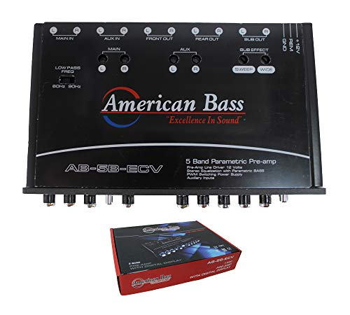 American Bass 5 Band Equalizer with Built in Voltmeter Digital Display AB-5B-ECV