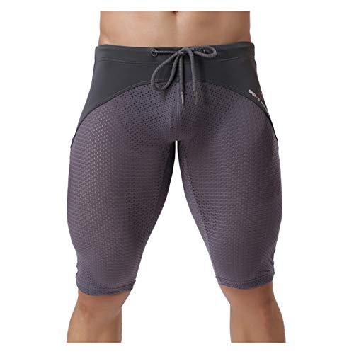 Deportes de Secado Rápido Baselayer Pantalón,Pantalones cortos para hombre pantalones medios ranspirables de malla sexis pantalones cortos para dormir gimnasio deportes culturismo esculpir el cuerpo m