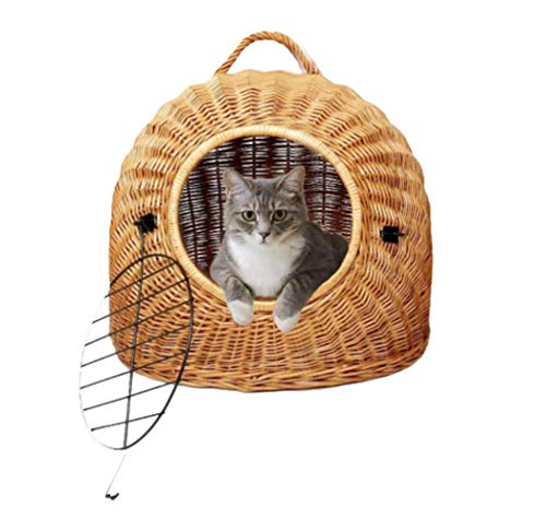 Katzenkorb aus Weide Natural S – absoluter Klassiker, hochrobuste Katzentransportbox, von Hand geflochten, für Katzen und kleine Hunde, Fortena