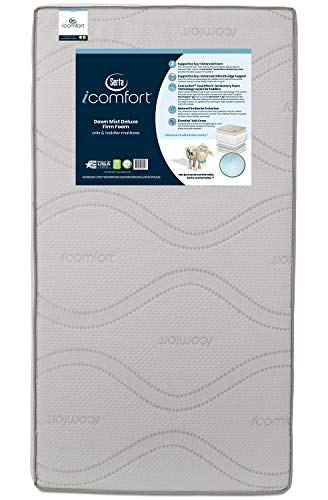 Serta iComfort Dawn Mist Deluxe Firm Memory Foam Crib and Toddler Mattress | Waterproof | GREENGUARD Gold Certified | Trusted | Made in The USA