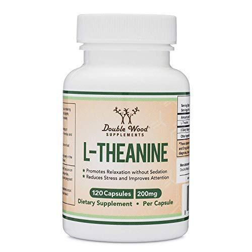 L-Theanine 200mg by Double Wood Supplements — Naturally Reduce Stress, Promote Relaxation and Quality Sleep — Soy Free, Gluten Free, Non-GMO —Third Party Tested and Made in The USA 120 Capsules