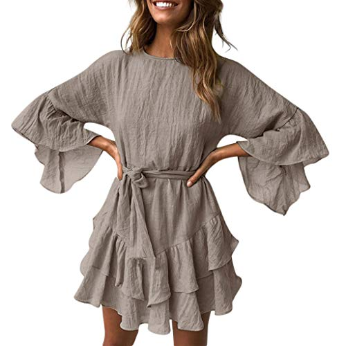 Find Bargain Gergeos Casual Dress Women Solid Ruffle Lacing Round Neck Irregular Loose Mini Dress wi...