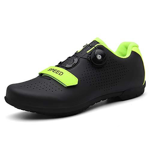 BHC Ciclismo Cycling Zapatos Bicicleta Road Shoes con Suela de Caucho y Triple Tira de Velcro Zapatillas de Ciclismo Unisex,Negro,40 EU
