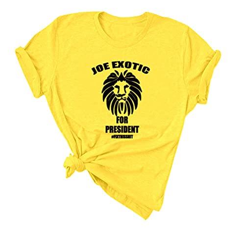Tiger King Joe Exotic Camiseta Compacto y Ligero de Active Manga Corta de la Camiseta de Las Mujeres de Peso Ligero Manga Corta Camiseta Unisex de los Hombres y Las Mujeres de los Hombres Slim Fit de
