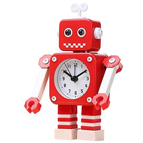 SODIAL Verformung des Roboters Alarm Kleiner Wecker Student Wecker Sch?Ne Kinder Karikatur Metall Wecker Rot