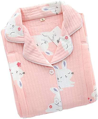 PATA Pijamas Primavera Y Otoño Modelos Pijama de Maternidad Postparto Lactancia Pijama Conjunto de Botones Impresión Mujer Pijama Un Color: Rosa (Color: Rosa, Talla: Grande)