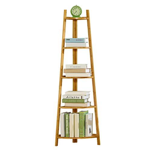Opberghoekrek in industrieel design, boekenrek, ladderrek, eenvoudige montage, stabiel metaal voor het frame, 5 niveaus voor thuis, woonkamer, slaapkamer, balkon of Sort out