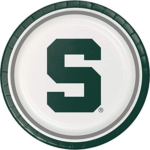 Creative Converting 424716 Michigan State Spartans Dinner Paper Plates, 8-Count, Multicolor