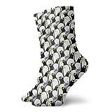 Calcetines cortos de 30 cm para hombre y mujer, diseño de gato entre los pingüinos