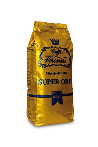 Unser beliebtester Blend für milden Kaffee-Genuss || Caffé Veronesi - Super Oro 1Kg italienische Espresso Bohnen Säurearm dunkel geröstet | fruchtiges Aromaprofil - helle Crema - Schaumkranz dick