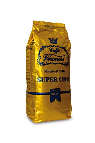 Premium Espresso Mild & Fruchtig || Dicke & Helle Crema || Langanhaltendes & Vielseitige Aromapalette || Caffé Veronesi - Super Oro1000g ganze Bohnen || original italienischer Kaffee || Caffé