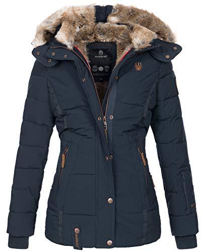 Marikoo warme Damen Winter Jacke Winterjacke Steppjacke gefüttert Kunstfell B658 [B658-Nek-Navy-Gr.S]