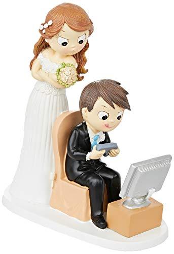 Mopec Figur Brautpaar und Videospielen, Polyresin, weiß, 8.5x 18.5x 21cm