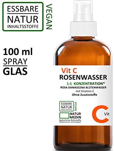 Vitamin C ROSENWASSER 100-ml , 100 {e543d69c20469d97e078955fd3eb197cc02e812cdcf694468e5254e210974f73} naturrein , Rosa damascena Blüttenwasser mit Vitamin C , 1:1 Konzentration , essbar , ohne Zusatzstoffe , Spray Glasflasche , nachhaltig . Gesichts-wasser .