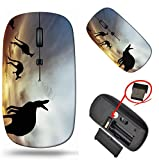 Laptop Wireless Mouse, MSD Computer USB Wireless Mouse, 2.4G Travel Mice, Adjustable DPI for Notebook PC Laptop Computer MacBook Black Base Kangaroos in Australian Landscape Photo 20380973