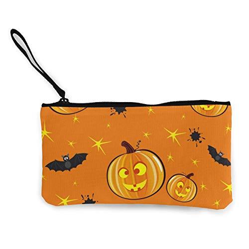 Wrution Lächelnder Kürbis-Hintergrund, für Halloween, personalisierbar, Segeltuch, mit Reißverschluss, kleine Geldbörse, weiblich, tragbar, große Kapazität