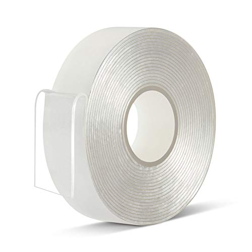 Double Sided Tape Heavy Duty - 3/4 in 10 Ft No Residue Clear Removable Strong 2 Sided Acrylic Adhesive Sticky Tape for Craft Wall Mounting(Pack of 1 Roll)