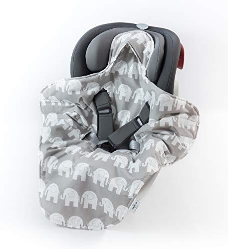 Sango Trade Babydecke für Kindersitz im Auto Babytrage Kinderwagen perfekt während einer Reise 100% Baumwolle Antiallergische Füllung Weich 100 cm x 120 cm (Elefanten)