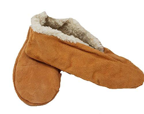Mum Socken Mokassin-Hausschuhe, Hüttenschuhe, Schluffis, Leder, beige Innenfutter Webfell 35-47 (42)