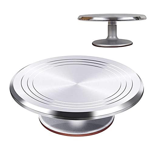 DIYH Tårtskiva för dekoration 23,5 35,5 cm – 1 del aluminiumlegering kakstativ – snurrar smidigt snurrande tårtfat – för bröllop, födelsedagar, familjefester, lätt att använda