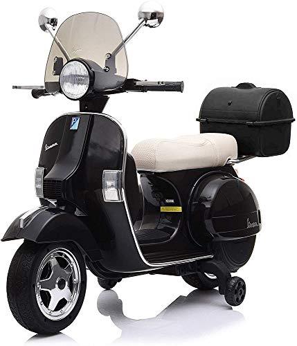 Tecnobike Shop Moto Elettrica Scooter per Bambini Piaggio Vespa PX 150 12v Full Parabrezza e Bauletto Luci Suoni LED Mp3 (Nero)